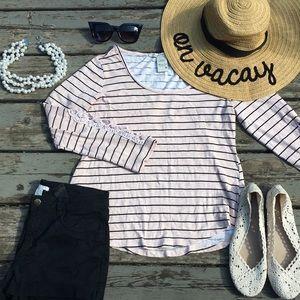American Rag}• striped tee shirt lace sleeves